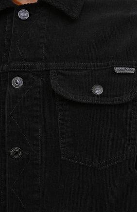 Мужская хлопковая куртка TOM FORD черного цвета, арт. BVJ19/TFD116 | Фото 6