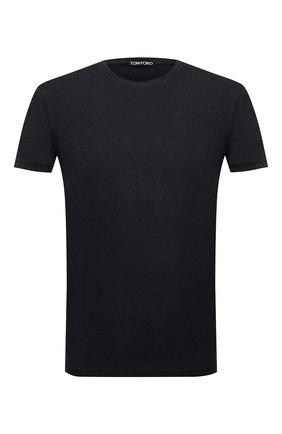 Мужская футболка TOM FORD черного цвета, арт. BV229/TFJ950   Фото 1 (Материал внешний: Лиоцелл, Хлопок; Рукава: Короткие; Длина (для топов): Стандартные; Принт: Без принта; Стили: Классический)