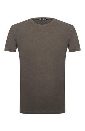 Мужская футболка TOM FORD хаки цвета, арт. BV229/TFJ950 | Фото 1 (Материал внешний: Лиоцелл, Хлопок; Рукава: Короткие; Длина (для топов): Стандартные; Принт: Без принта; Стили: Кэжуэл)