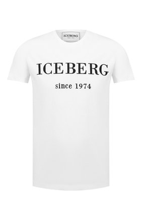 Мужская хлопковая футболка ICEBERG белого цвета, арт. 20I I1P0/F014/6301   Фото 1