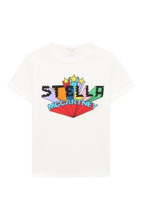 Детская хлопковая футболка STELLA MCCARTNEY белого цвета, арт. 601104/SPJ03 | Фото 1