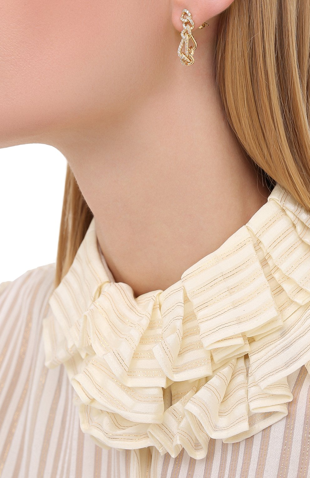 Женские серьги BOTTEGA VENETA золотого цвета, арт. 628571/VB0B6 | Фото 2