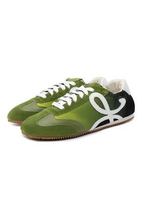 Женские комбинированные кроссовки LOEWE зеленого цвета, арт. L815282X05 | Фото 1