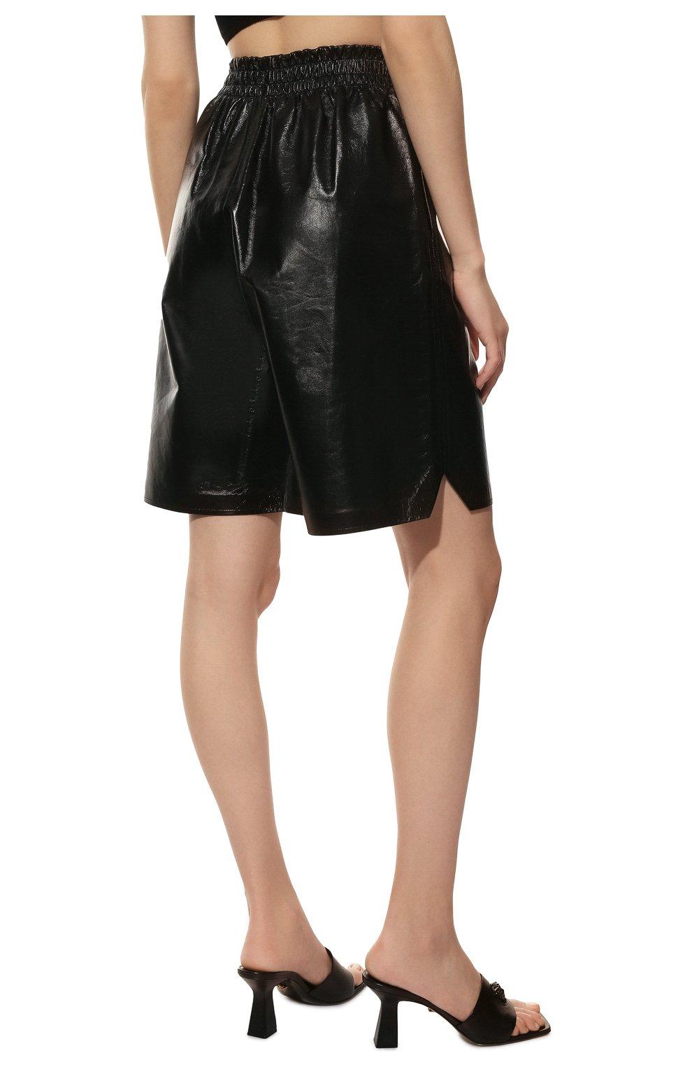 Женские кожаные шорты BOTTEGA VENETA черного цвета, арт. 633445/VKLC0 | Фото 4