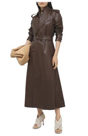 Женский кожаный тренч BOTTEGA VENETA светло-коричневого цвета, арт. 640244/V06E0   Фото 2