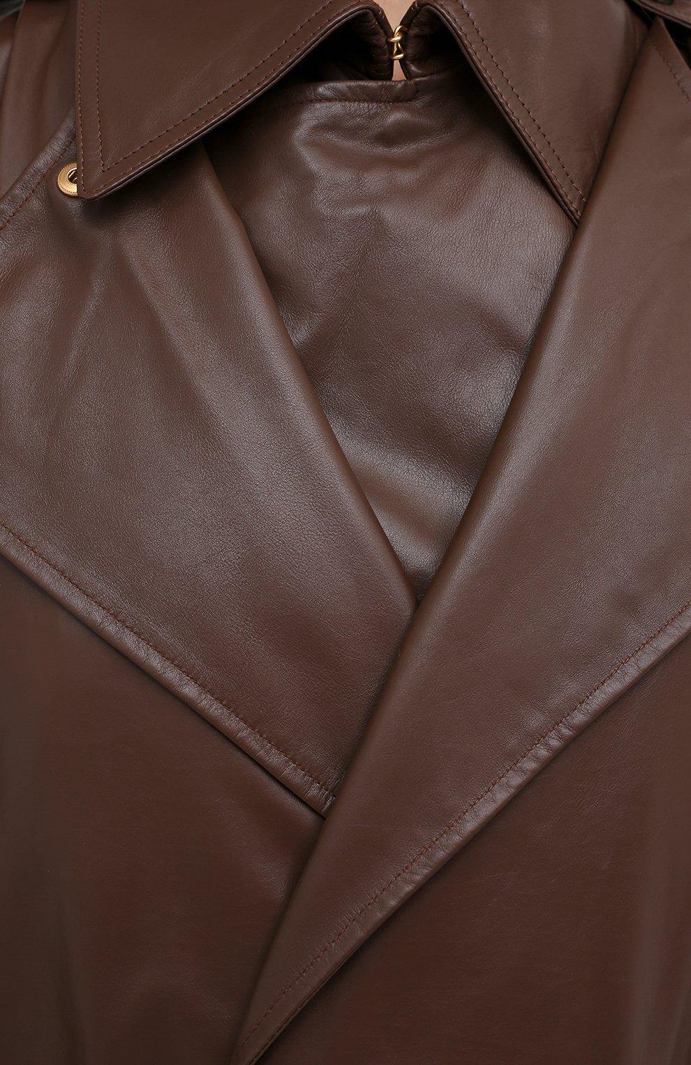 Женский кожаный тренч BOTTEGA VENETA светло-коричневого цвета, арт. 640244/V06E0   Фото 5 (Рукава: Длинные; Женское Кросс-КТ: Замша и кожа; Стили: Кэжуэл)