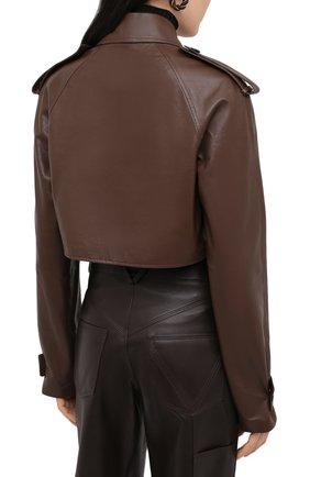 Женский кожаный тренч BOTTEGA VENETA светло-коричневого цвета, арт. 640244/V06E0   Фото 7 (Рукава: Длинные; Женское Кросс-КТ: Замша и кожа; Стили: Кэжуэл)