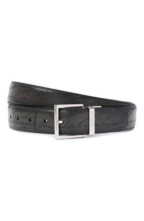 Мужской кожаный ремень BERLUTI темно-серого цвета, арт. C0064-002 | Фото 1