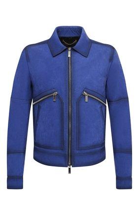 Мужская кожаная куртка BERLUTI синего цвета, арт. R18LBL76-001 | Фото 1