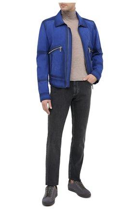Мужская кожаная куртка BERLUTI синего цвета, арт. R18LBL76-001 | Фото 2