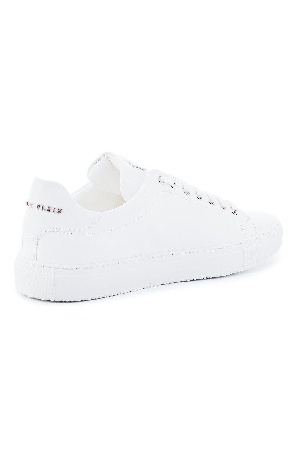 Мужские кожаные кеды PHILIPP PLEIN белого цвета, арт. F20S MSC2816 PLE045N | Фото 4