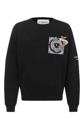 Мужской хлопковый свитшот ICEBERG черного цвета, арт. 20I I1P0/E041/6311   Фото 1