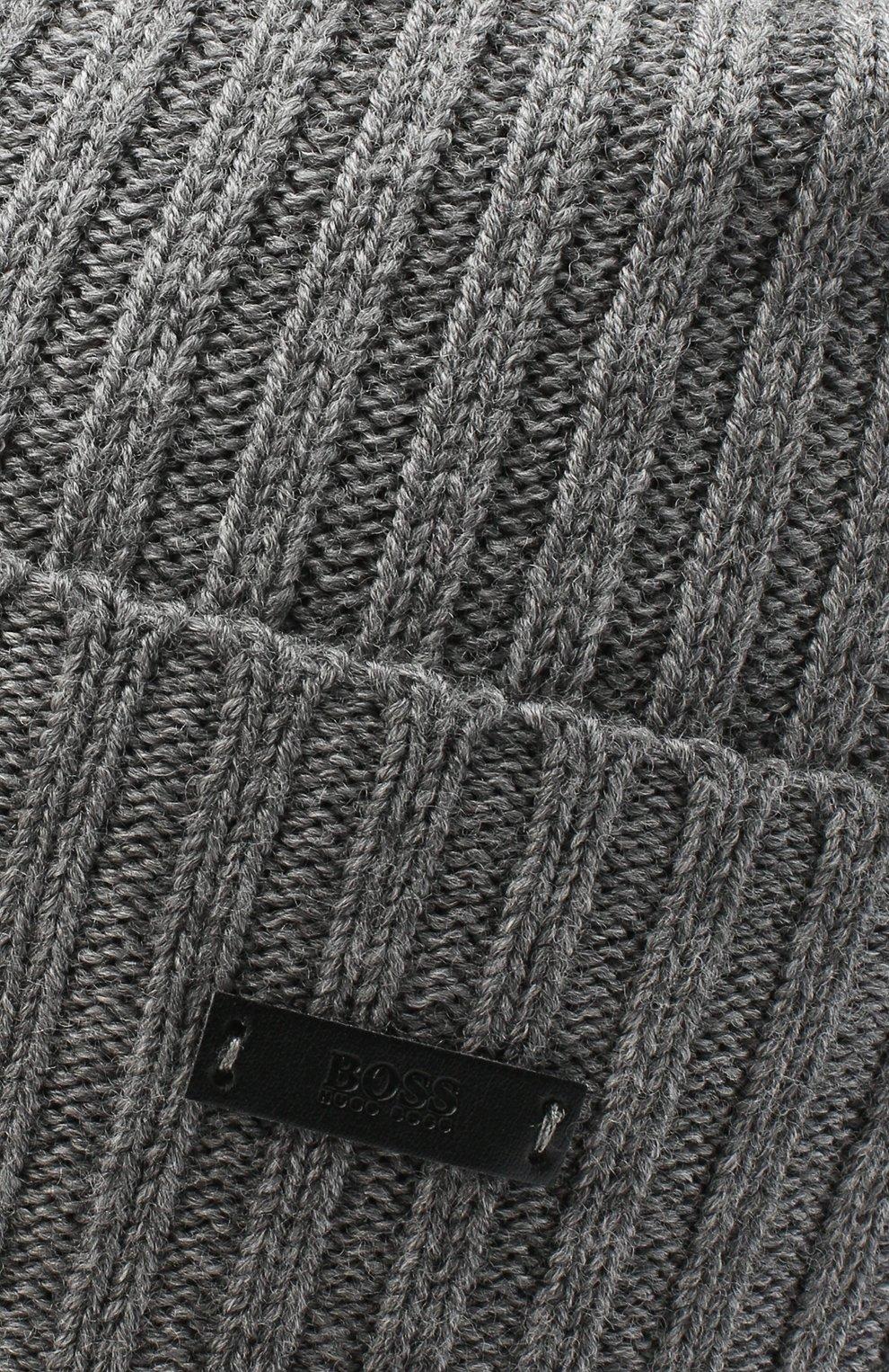 Мужская шерстяная шапка BOSS серого цвета, арт. 50435354 | Фото 3