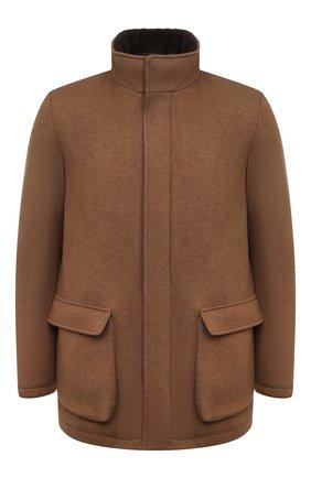 Мужская кашемировая куртка с меховой подкладкой LORO PIANA коричневого цвета, арт. FAL3157 | Фото 1 (Рукава: Длинные; Материал внешний: Шерсть; Мужское Кросс-КТ: Верхняя одежда, Куртка-верхняя одежда, шерсть и кашемир, утепленные куртки; Стили: Кэжуэл; Кросс-КТ: Куртка)