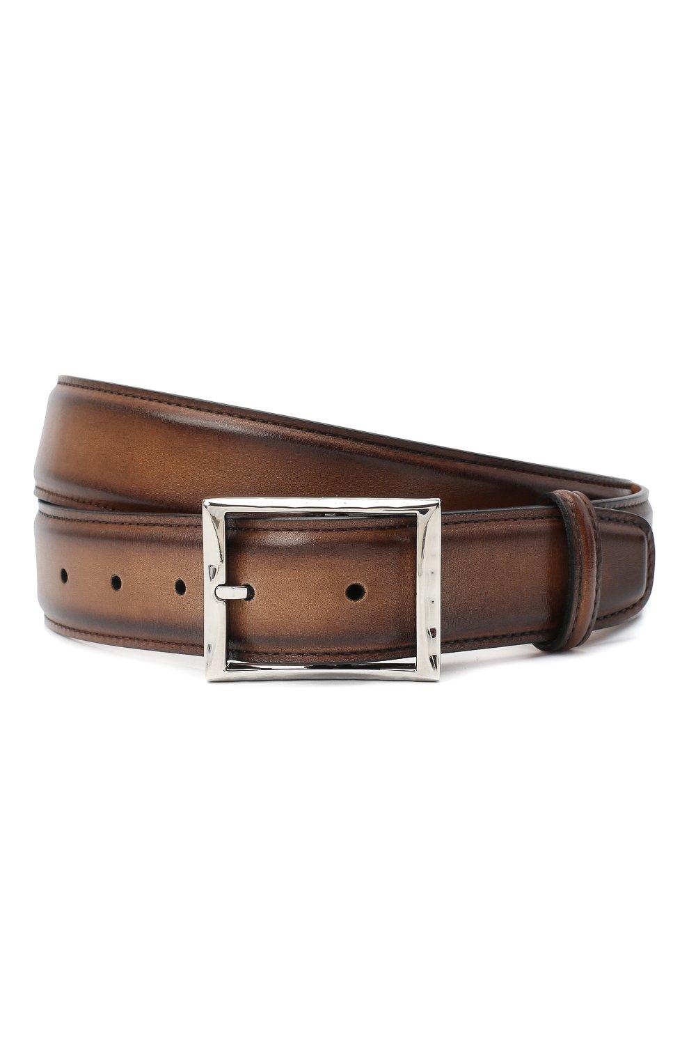 Мужской кожаный ремень BERLUTI светло-коричневого цвета, арт. C0002-018 | Фото 1