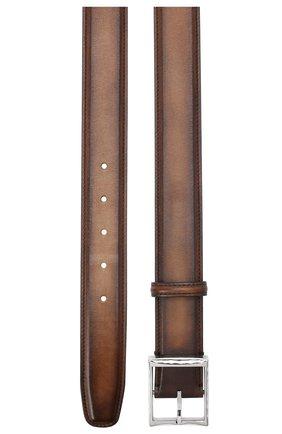 Мужской кожаный ремень BERLUTI светло-коричневого цвета, арт. C0002-018 | Фото 2