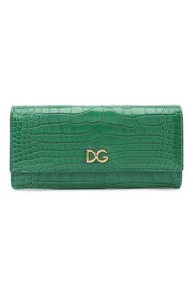 Женские кошелек из кожи аллигатора DOLCE & GABBANA зеленого цвета, арт. BI0087/B2DG9/AMIS   Фото 1 (Материал: Кожа, Экзотическая кожа)