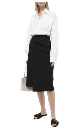 Женские текстильные шлепанцы bianca DOLCE & GABBANA черного цвета, арт. CQ0324/AW020   Фото 2