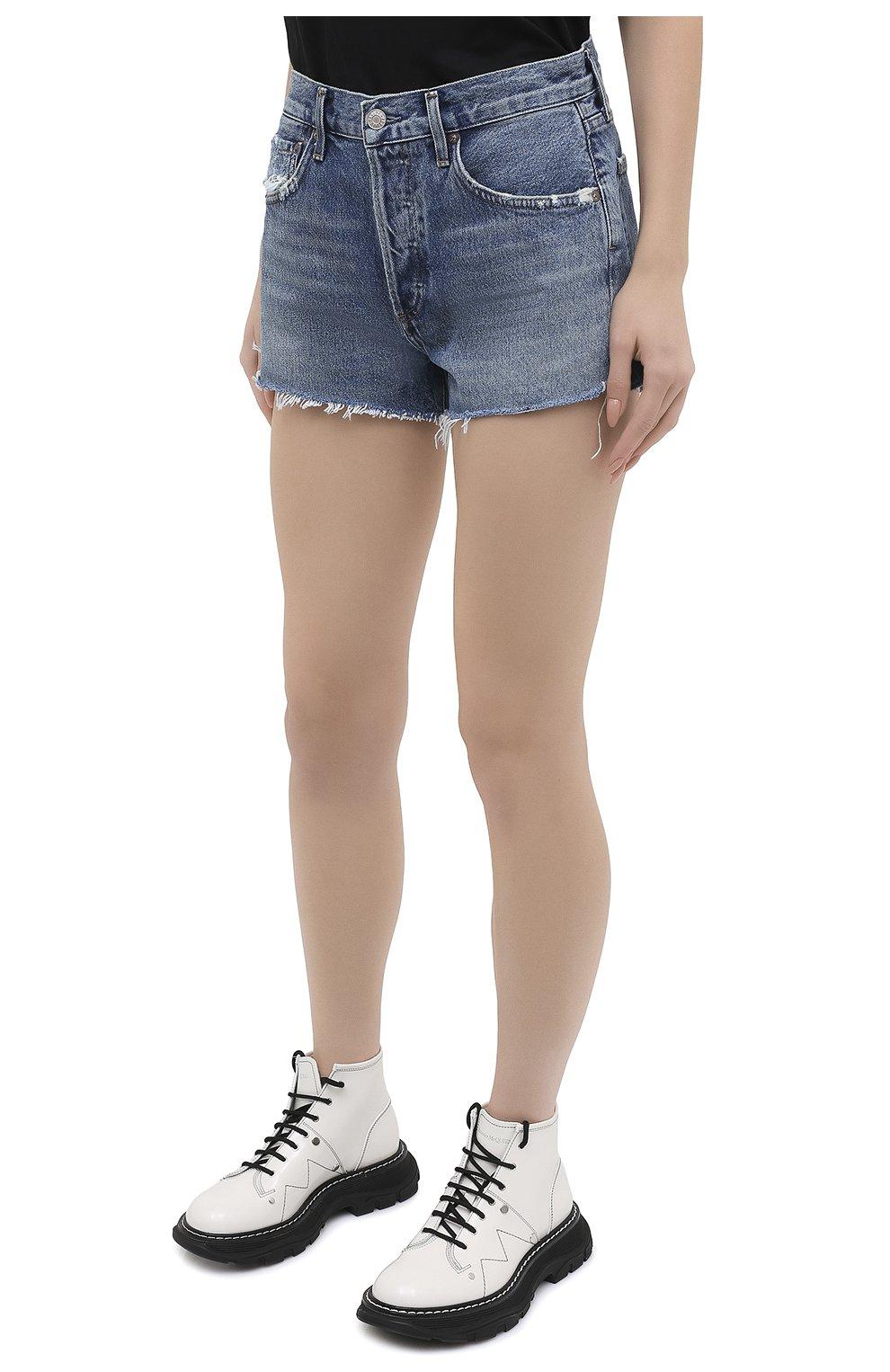 Женские джинсовые шорты AGOLDE синего цвета, арт. A026C-1141 | Фото 3 (Женское Кросс-КТ: Шорты-одежда; Кросс-КТ: Деним; Длина Ж (юбки, платья, шорты): Мини; Материал внешний: Хлопок; Детали: Потертости; Стили: Кэжуэл)