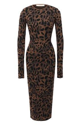 Женское платье из шерсти и вискозы TAK.ORI коричневого цвета, арт. DRK71040W065AW20 | Фото 1 (Длина Ж (юбки, платья, шорты): Миди; Материал внешний: Вискоза, Шерсть; Рукава: Длинные; Случай: Повседневный; Стили: Гламурный; Женское Кросс-КТ: Платье-одежда, платье-футляр)