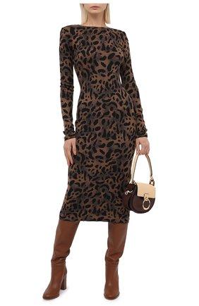 Женское платье из шерсти и вискозы TAK.ORI коричневого цвета, арт. DRK71040W065AW20 | Фото 2 (Длина Ж (юбки, платья, шорты): Миди; Материал внешний: Вискоза, Шерсть; Рукава: Длинные; Случай: Повседневный; Стили: Гламурный; Женское Кросс-КТ: Платье-одежда, платье-футляр)