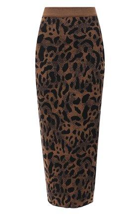 Женская юбка из шерсти и вискозы TAK.ORI коричневого цвета, арт. SKK71044W065AW20 | Фото 1 (Длина Ж (юбки, платья, шорты): Миди; Материал внешний: Шерсть, Вискоза; Стили: Гламурный; Женское Кросс-КТ: Юбка-карандаш, Юбка-одежда)