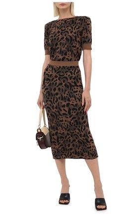 Женская юбка из шерсти и вискозы TAK.ORI коричневого цвета, арт. SKK71044W065AW20 | Фото 2 (Длина Ж (юбки, платья, шорты): Миди; Материал внешний: Шерсть, Вискоза; Стили: Гламурный; Женское Кросс-КТ: Юбка-карандаш, Юбка-одежда)