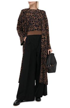 Женский пуловер из шерсти и вискозы TAK.ORI коричневого цвета, арт. TPK71042W065AW20 | Фото 2 (Рукава: Короткие; Материал внешний: Шерсть, Вискоза; Длина (для топов): Стандартные; Женское Кросс-КТ: Пуловер-одежда)