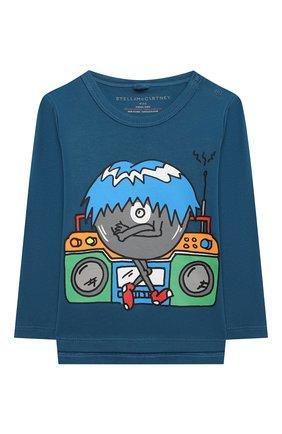 Детский хлопковый лонгслив STELLA MCCARTNEY синего цвета, арт. 601344/SPJC1 | Фото 1