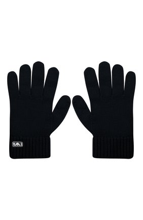 Детские шерстяные перчатки EMPORIO ARMANI темно-синего цвета, арт. 404615/0A759 | Фото 2