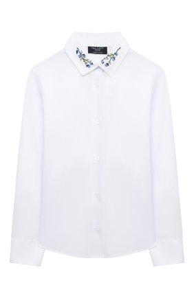 Детское хлопковая блузка DAL LAGO белого цвета, арт. R407A/7537/4-6 | Фото 1