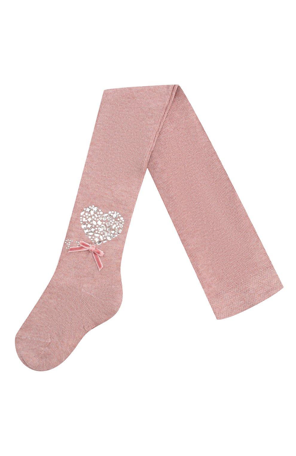 Детские хлопковые колготки LA PERLA розового цвета, арт. 47088/1-3   Фото 1 (Материал: Текстиль, Хлопок)