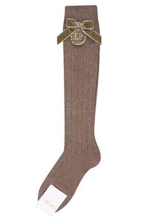 Детские хлопковые носки LA PERLA коричневого цвета, арт. 47878/9-12 | Фото 1 (Материал: Хлопок, Текстиль)