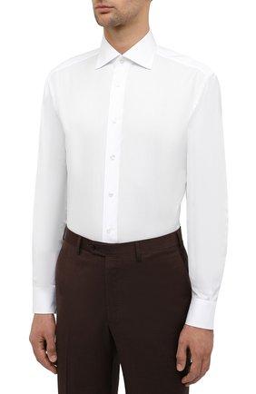 Мужская хлопковая сорочка BRIONI белого цвета, арт. RCA10M/P90C3 | Фото 4