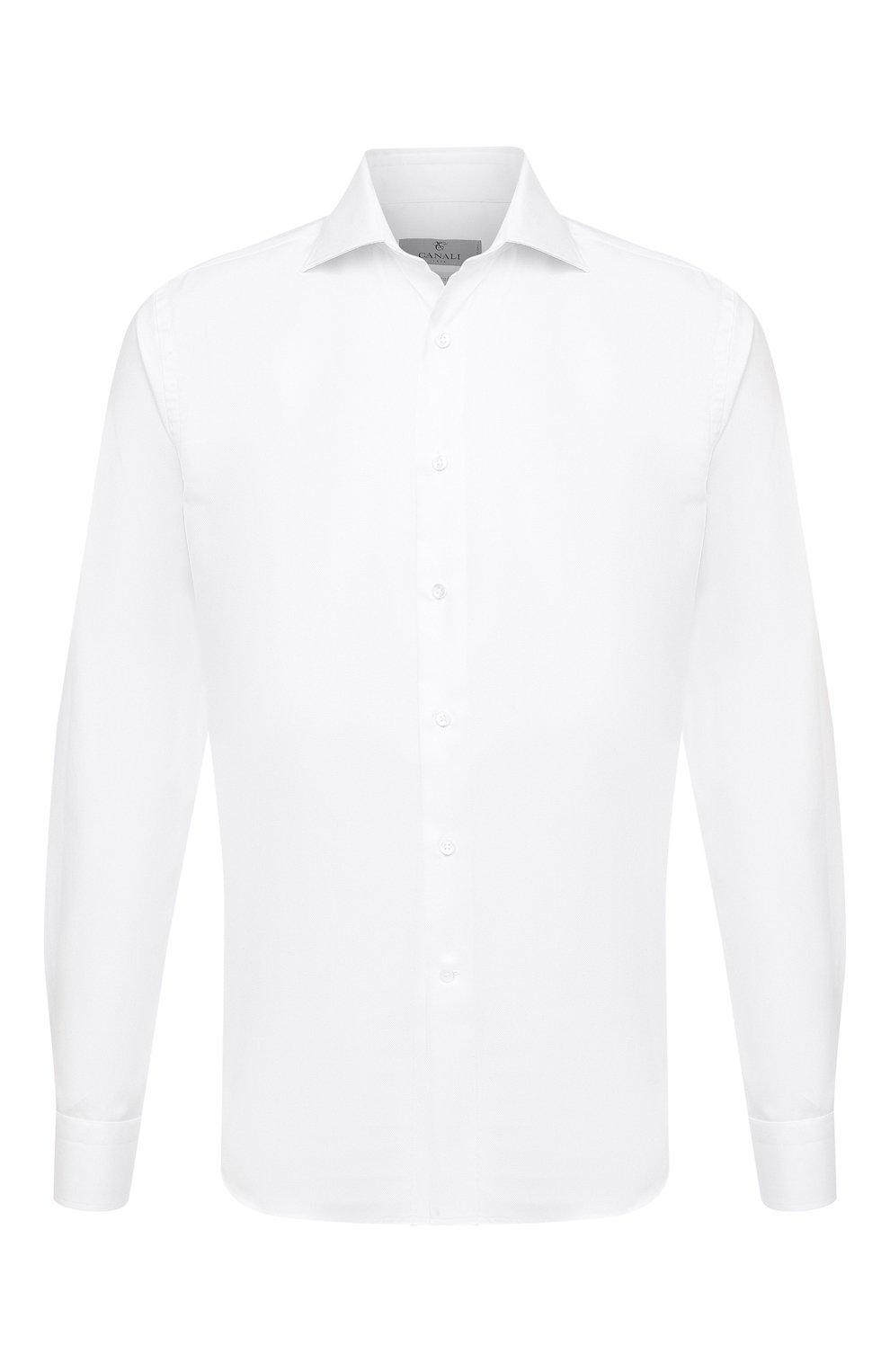 Мужская хлопковая сорочка CANALI белого цвета, арт. NX58/GR01594   Фото 1