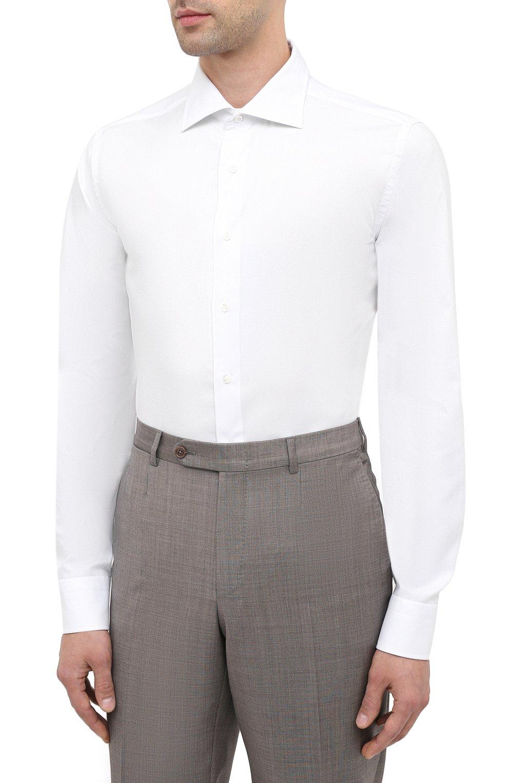 Мужская хлопковая сорочка CANALI белого цвета, арт. NX58/GR01594   Фото 3
