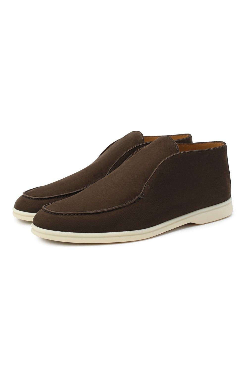 Мужские кожаные ботинки open walk LORO PIANA темно-коричневого цвета, арт. FAL2888   Фото 1