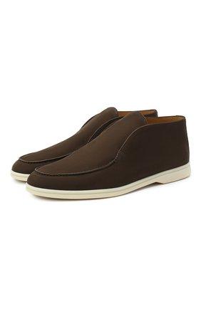 Мужские кожаные ботинки open walk LORO PIANA темно-коричневого цвета, арт. FAL2888 | Фото 1 (Материал внутренний: Натуральная кожа; Подошва: Плоская; Мужское Кросс-КТ: Ботинки-обувь)