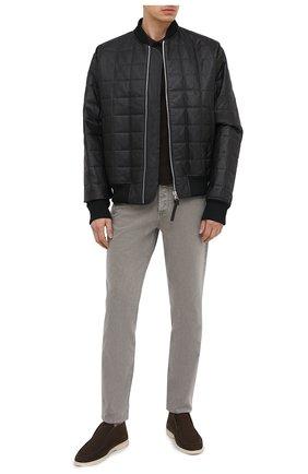 Мужские кожаные ботинки open walk LORO PIANA темно-коричневого цвета, арт. FAL2888 | Фото 2 (Материал внутренний: Натуральная кожа; Подошва: Плоская; Мужское Кросс-КТ: Ботинки-обувь)