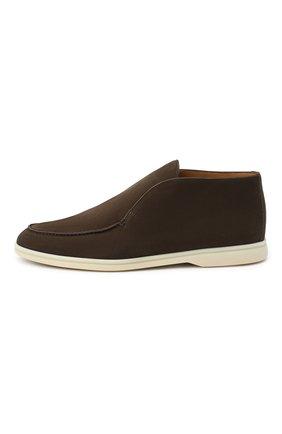 Мужские кожаные ботинки open walk LORO PIANA темно-коричневого цвета, арт. FAL2888   Фото 3