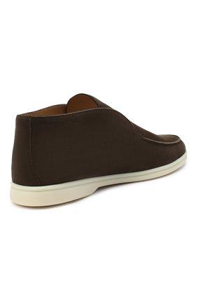 Мужские кожаные ботинки open walk LORO PIANA темно-коричневого цвета, арт. FAL2888   Фото 4