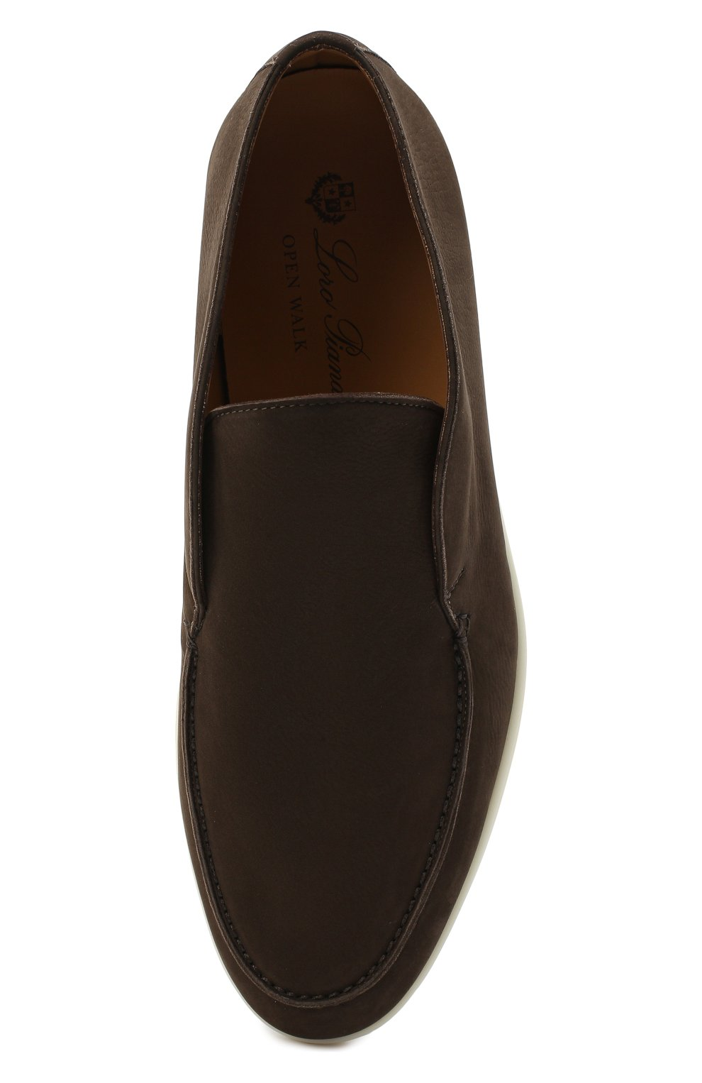 Мужские кожаные ботинки open walk LORO PIANA темно-коричневого цвета, арт. FAL2888   Фото 5