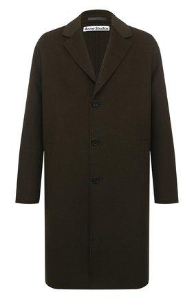 Мужской шерстяное пальто ACNE STUDIOS хаки цвета, арт. B90432 | Фото 1