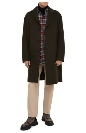 Мужской шерстяное пальто ACNE STUDIOS хаки цвета, арт. B90432 | Фото 2