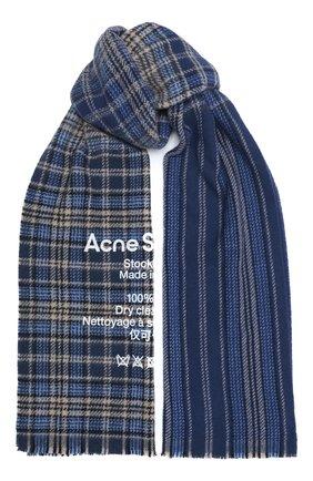Мужской шерстяной шарф ACNE STUDIOS голубого цвета, арт. CA0095/M | Фото 1