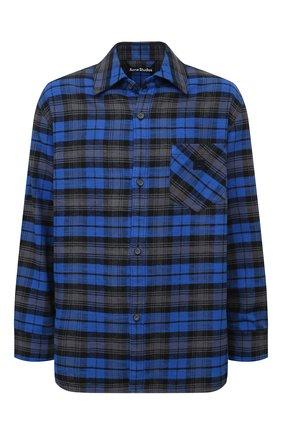 Мужская хлопковая рубашка ACNE STUDIOS синего цвета, арт. CB0017/M | Фото 1