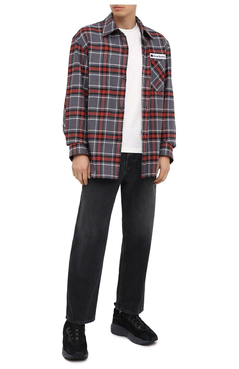 Мужская хлопковая рубашка ACNE STUDIOS серого цвета, арт. CB0023/M | Фото 2