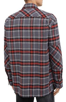 Мужская хлопковая рубашка ACNE STUDIOS серого цвета, арт. CB0023/M | Фото 4