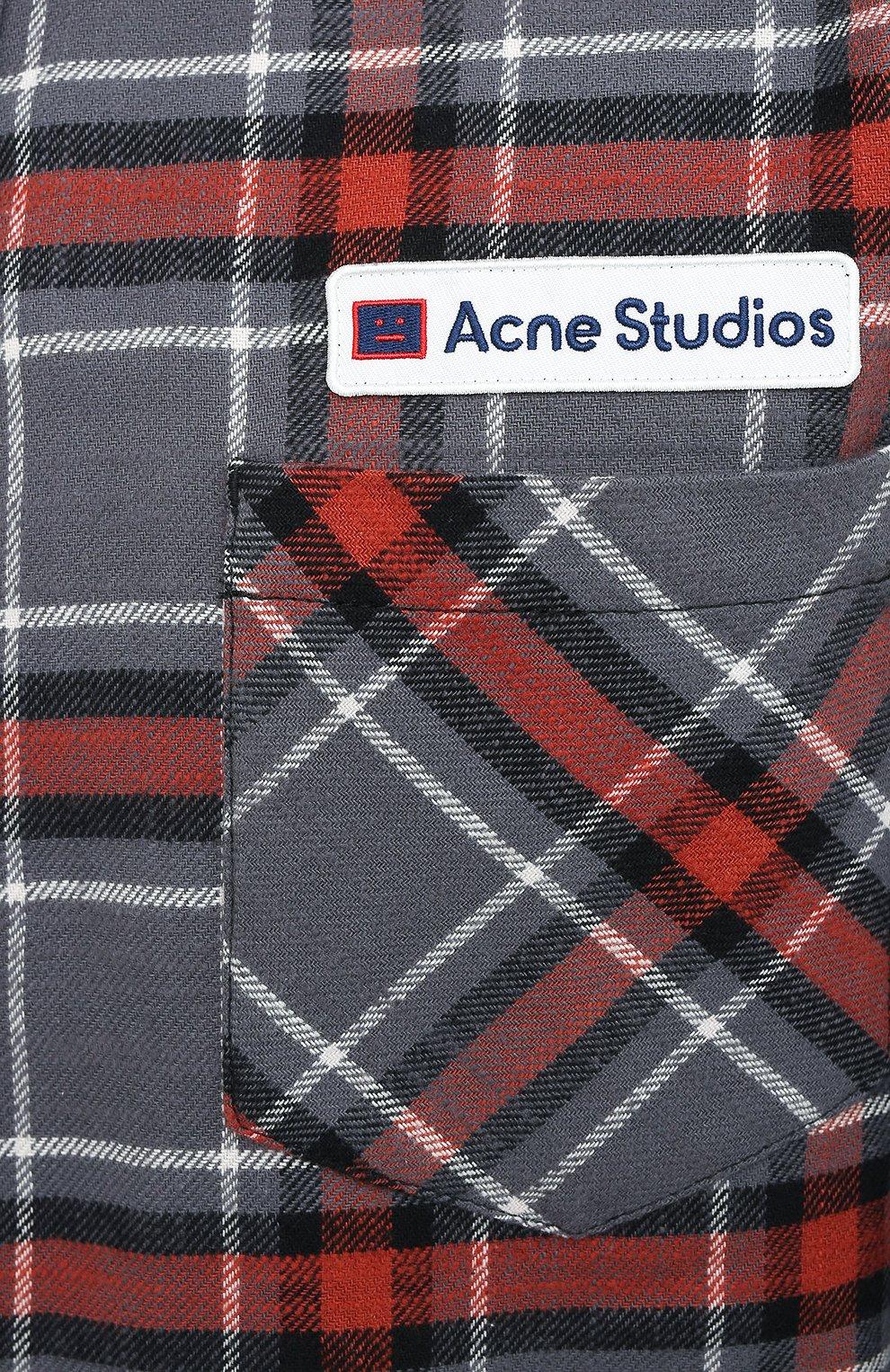 Мужская хлопковая рубашка ACNE STUDIOS серого цвета, арт. CB0023/M | Фото 5