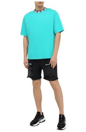 Мужская футболка ACNE STUDIOS бирюзового цвета, арт. CL0072/M | Фото 2